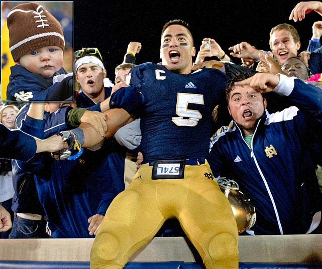 A Notre Dame fan in Chicago asked for Likes on a special Facebook page he set up to help him persuade his wife to name their soon-to-arrive daughter Manti. <italics>Dec. 3 issue</italics>