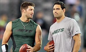 The Jets could decide to trade Tim Tebow (left) and Mark Sanchez.
