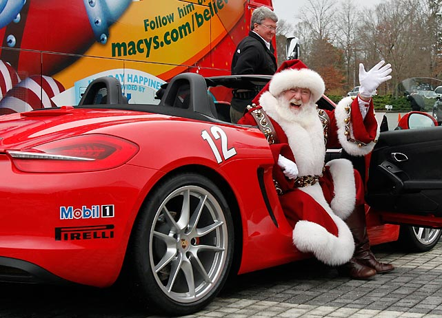Who needs reindeer? Old St. Nick finally got wise and grabbed himself some wheels. Here is showin' 'em off at Barber Motorsports Park in Birmingham, Ala.