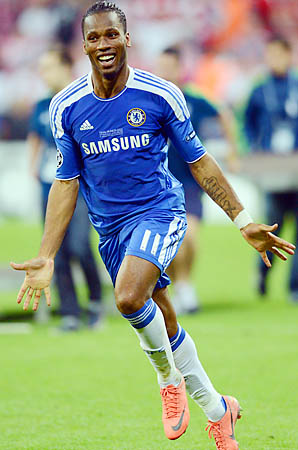 Didier Drogba left Chelsea a winner, beating Bayern Munich for the Champions League crown.