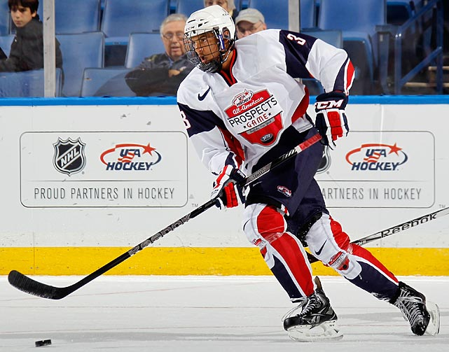 """Polished"" might be the most flattering term a scout can use in describing an underage prospect, so it speaks volumes about Jones that it is applied to him so often. A smooth skating, physical defender whose style of play evokes memories of a young Chris Pronger, Jones has shown a knack for stepping up when it counts. He led Team USA to gold at the U-18 and racked up 11 points in six games since Portland was rocked by its player-benefits scandal."