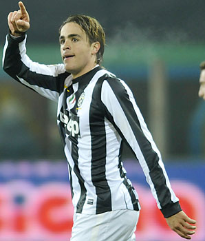 Alessandro Matri celebrates scoring in Juventus' 3-1 win over Cagliari.
