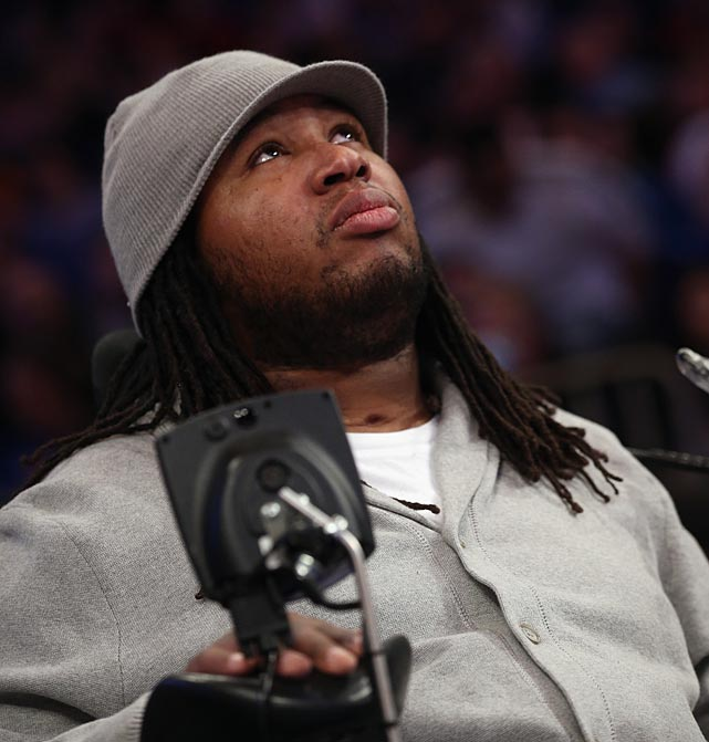 Former Rutgers football player Eric LeGrand attended the New York Knicks-Chicago Bulls game at Madison Square Garden.