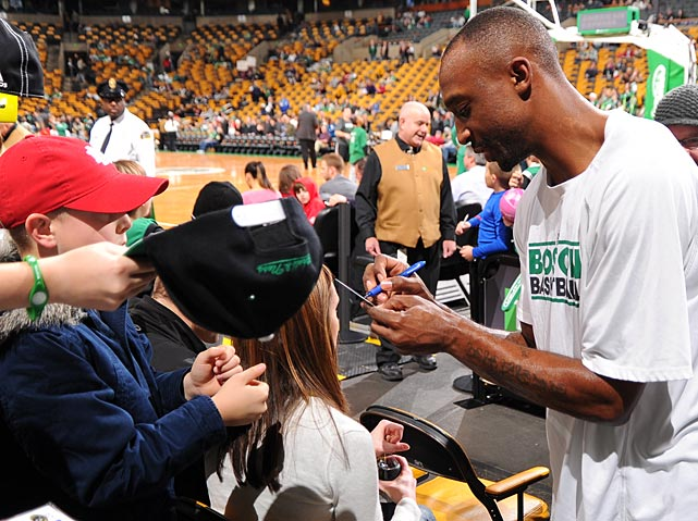 Jason Terry of the Boston Celtics signed autographs before the game against the Milwaukee Bucks at the TD Garden in Boston.