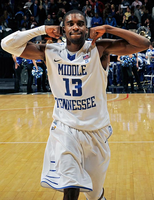 Bruce Massey Jr. of Middle Tennessee State reacted after the Blue Raiders defeated Vanderbilt at Bridgestone Arena in Nashville.