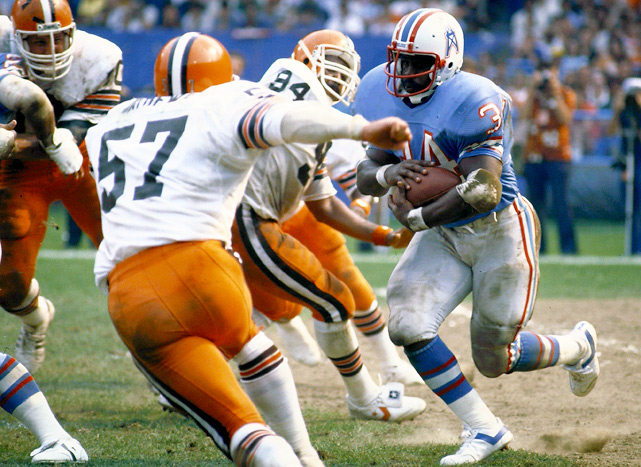Earl Campbell led the league in rushing for the third consecutive season and rumbled for more than 200 yards in four games, which remains an NFL record.