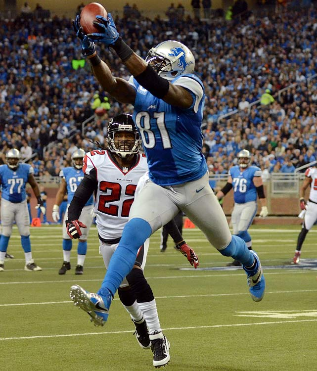Calvin Johnson broke Jerry Rice's all-time single-season receiving record with 1,964 yards.