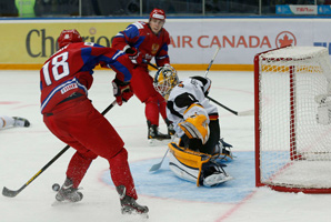 Yaroslav Kosov (18) scored a hat trick in the third period for the Russians.