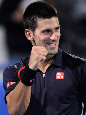 Novak Djokovic beat Rafael Nadal's replacement, Nicolas Almargro, to win in Abu Dhabi.