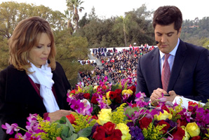 "Hannah Storm, shown here with ""Good Morning America"" host Josh Elliott, hosted the Rose Parade telecast Tuesday."