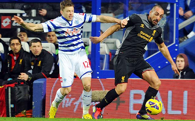 Jose Enrique (right) competes with Jamie Mackie of Queens Park Rangers during a December match.
