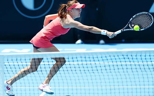 Agnieszka Radwanska ousted American Jamie Hampton, who made her first WTA semifinal appearance.