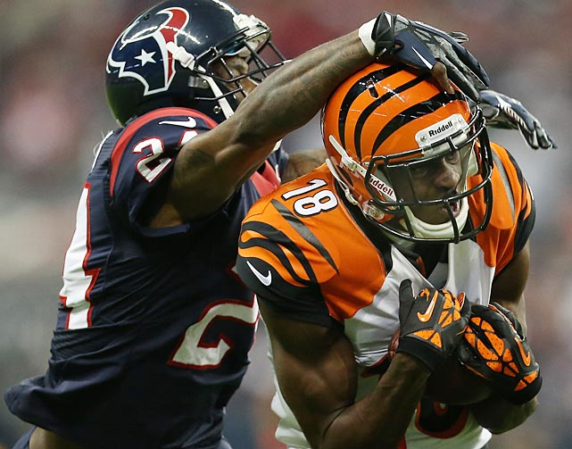 A.J. Green finished with five catches for 80 yards as the Bengals lost a first-round playoff game at Houston for the second year in a row.