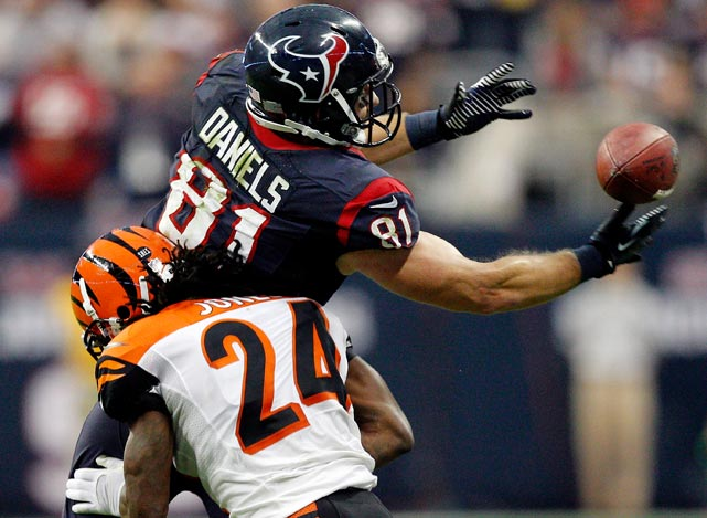 Houston tight end Owen Daniels had a game-high nine receptions for 91 yards.