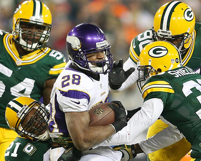 Adrian Peterson ran for a combined 409 yards in two regular season games against the Packers but had only 99 on 22 carries in their playoff matchup.