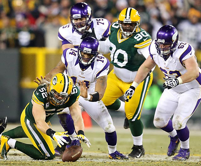 Clay Matthews recovers a Joe Webb fumble, one of two lost fumbles for the Vikings.