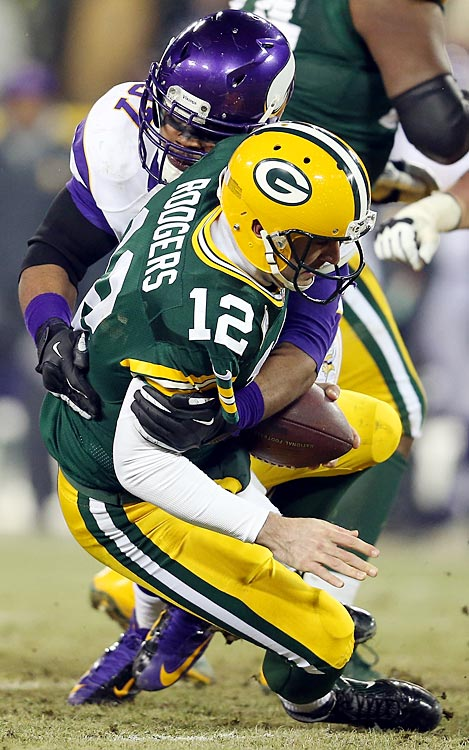 The Vikings sacked Aaron Rodgers three times, including on Everson Griffen's lone tackle of the game.