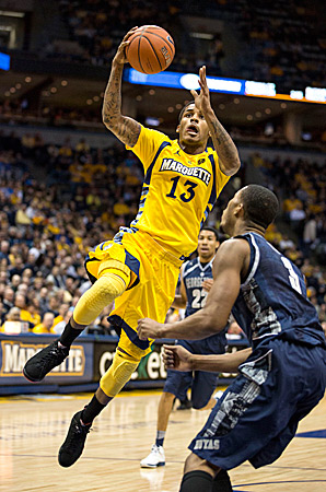 Vander Blue was one of only two Marquette players in double figures in the team's upset win over No. 15 Georgetown.