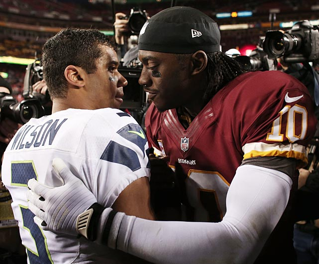 Rookie quarterbacks Russell Wilson and Robert Griffin III congratulated one another on a game well-played.
