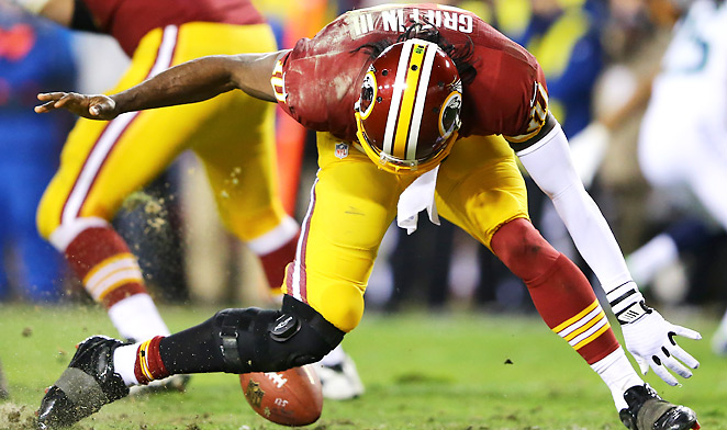 Even before having to exit the game due to this ugly play, Robert Griffin III clearly wasn't himself against the Seahawks.