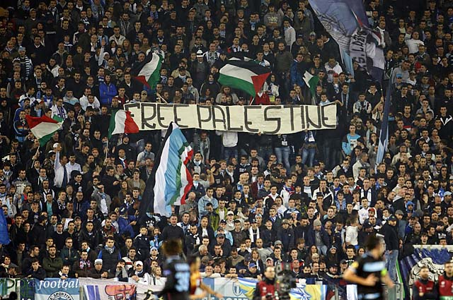 "Lazio fans hold a banner reading ""Free Palestine"" during a Europa League match in November."