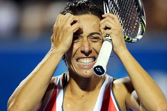 Francesca Schiavone reacts after losing a point against Kirsten Flipkens at the Hobart International.