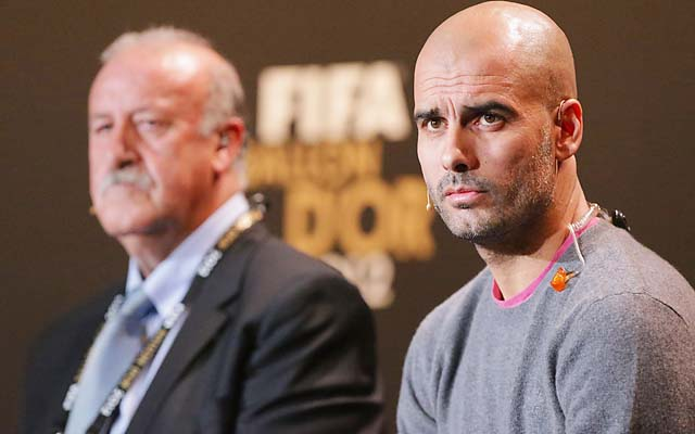 Spain coach Vicente del Bosque and Pep Guardiola attend a press conference in Zurich.