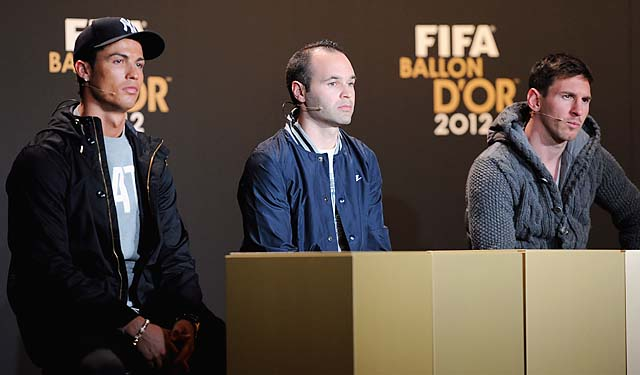 Cristiano Ronaldo (left), Andres Iniesta and Lionel Messi were the award finalists.