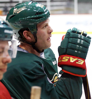 Defenseman Ryan Suter was among the 18 players who skated through drills and a short three-on-three scrimmage on Monday.