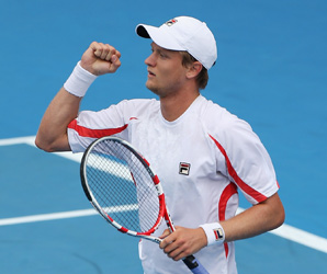 Greg Jones got his first ATP Tour victory against the 29th-ranked Jurgen Melzer.
