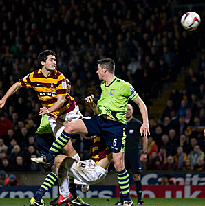 Frank McHugh's (left) goal gave Bradford a two-goal cushion heading into the second leg against Aston Villa.
