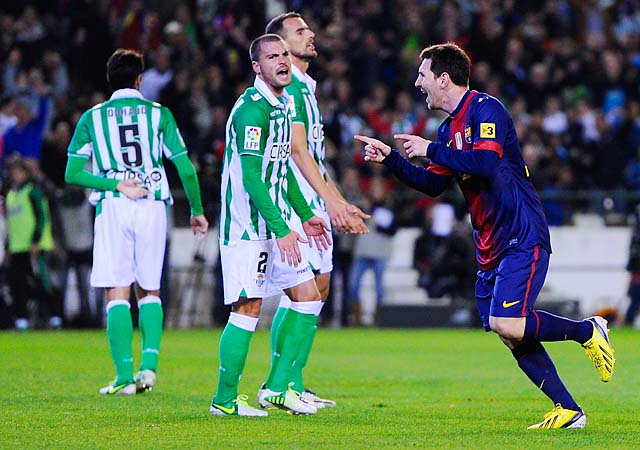 Lionel Messi celebrates his 86th goal in December 2012, which broke Gerd Mueller's calendar-year record.