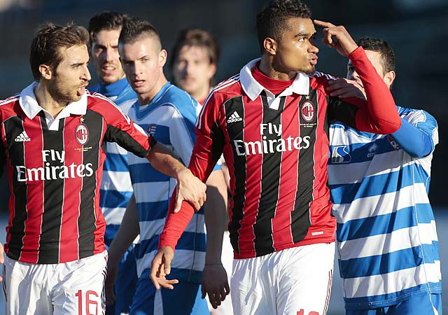 Kevin-Prince Boateng (right) gestures toward the crowd that made racist chants last week.