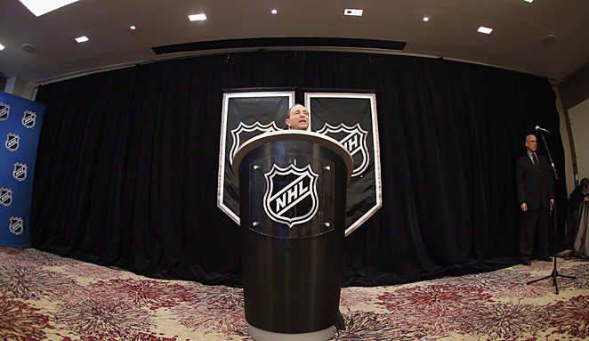 Standing at his famous podium, a somber Gary Bettman acknowledged the ill will the lockout created.