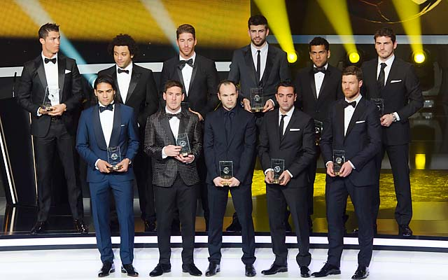 The entire FIFA Team of the Year was from La Liga, led by Lionel Messi (bottom, second from left).