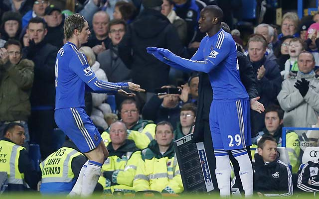 Fernando Torres (left) is substituted off for Demba Ba during a League Cup match Wednesday.