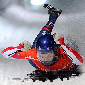 Noelle Pikus-Pace celebrates her first World Cup win of the season.