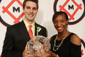 Patrick Mullins and Crystal Dunn won in voting announced Friday night by the Missouri Athletic Club.