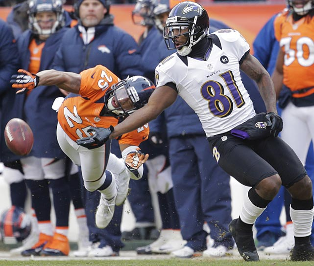 Denver Broncos cornerback Chris Harris breaks up a pass intended for Anquan Boldin, who had six catches for 71 yards.