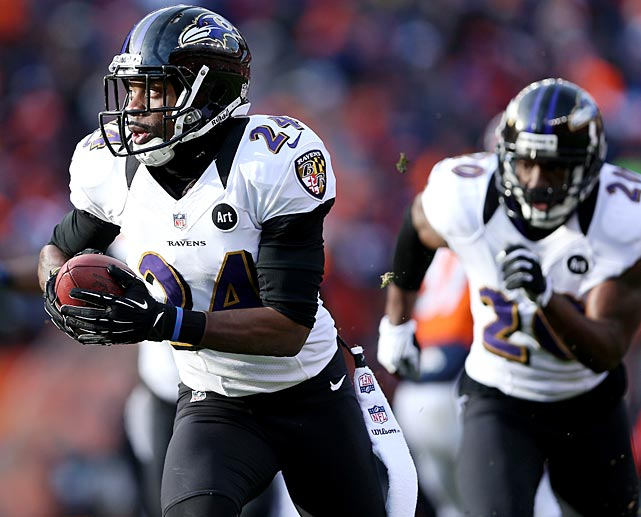 Corey Graham returns a Peyton Manning interception 39 yards for a touchdown to give Baltimore at 14-7 lead. His interception in overtime set the Ravens up for the game-winning field goal.