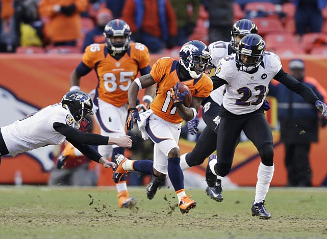 Trindon Holliday evades the Baltimore defense as he runs the opening kickoff of the second half back 104 yards for a touchdown. He's the first player in NFL history to return a punt and a kickoff for a touchdown in the same playoff game.