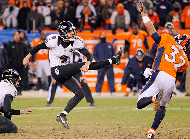 <italics>(Twelve shots from every game, beginning with Ravens-Broncos.)</italics> Justin Tucker watches the flight of his 47-yard game-winning field goal in the second overtime against Denver. The victory put the Ravens in the AFC Championship game.