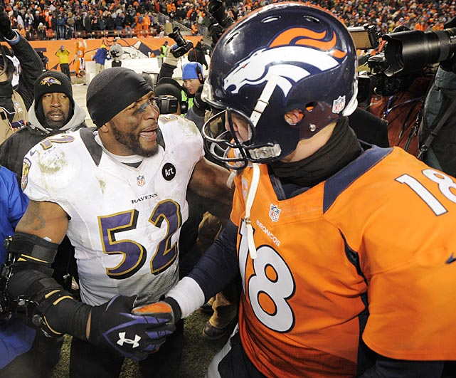 After the last NFL game in which they'll ever play against each other, Ray Lewis and Peyton Manning shared a few words.