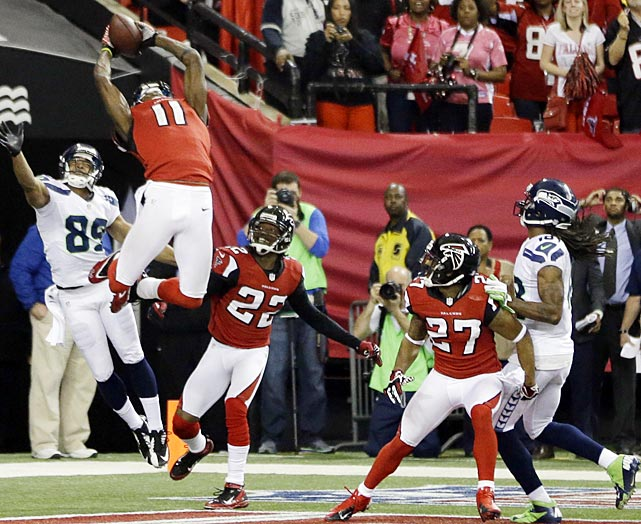 The Falcons put Julio Jones in to defend against Seattle's Hail Mary attempt to close the game and came down with an interception.