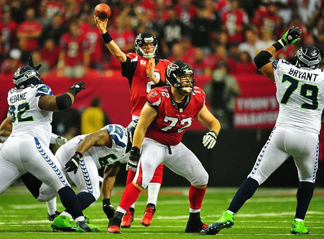Matt Ryan threw for 250 yards and three touchdowns en route to winning his first playoff game.