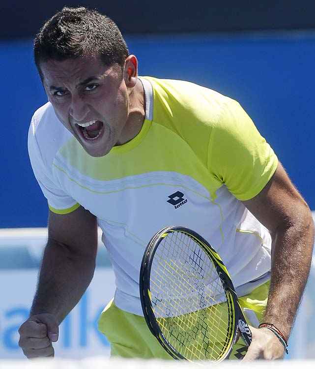 No. 10 Nicolas Almagro beat NCAA champion Steve Johnson 7-5, 6-7(4), 6-2, 6-7(6), 6-2.