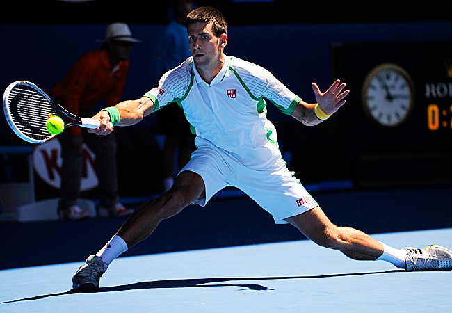 Defending champion Novak Djokovic won his first-round match over Paul-Henri Mathieu in straight sets.