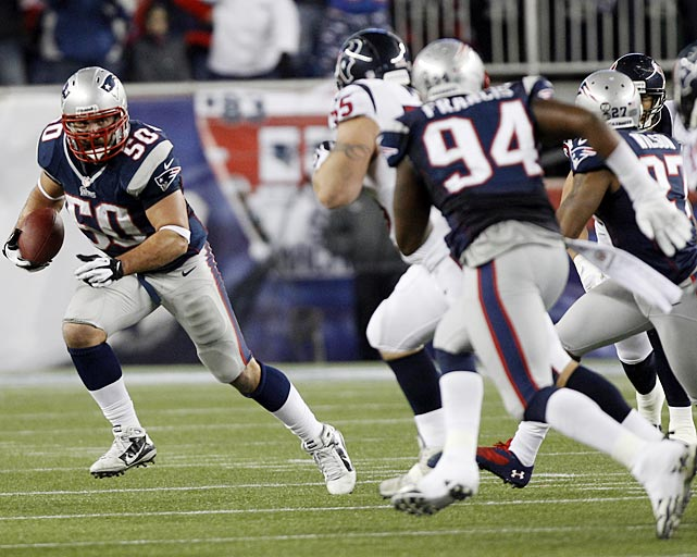 Rob Ninkovich took the air out of a Houston drive by intercepting a Matt Schaub pass, which he returned for six yards.