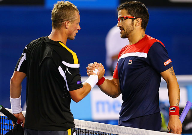 No. 8 Janko Tipsarevic (right) will face Lukas Lacko after dispatching Lleyton Hewitt.