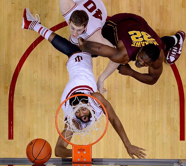 Indiana forward Christian Watford waits for a rebound in a Big Ten matchup with Minnesota. With five players in double figures, the Hoosiers held off the Golden Gophers 88-81 in a battle of Top 10 teams.